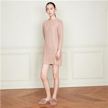 羊毛混纺长袖针织连衣裙