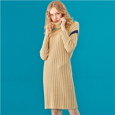 Turtleneck Contrast Knitted Dress