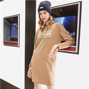 Printed letter hoodie sweatshirt dress