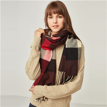 British style contrast plaid scarf