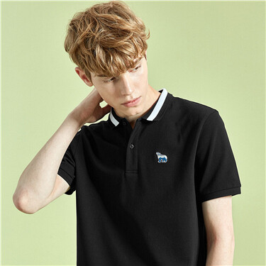 Polar bear embroidery pique polo shirt