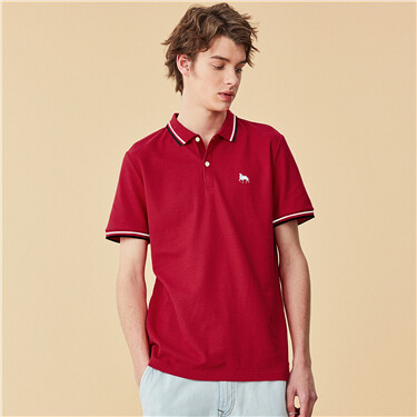 Embroidery lycra short-sleeve polo shirt