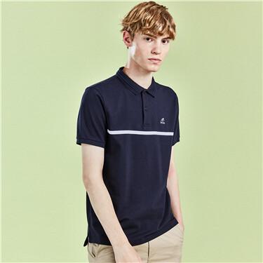 Contrast pique short-sleeve polo