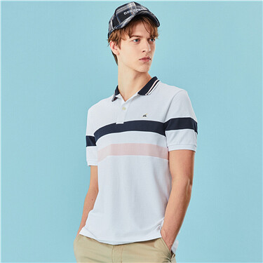 Contrast pique short-sleeve polo shirt