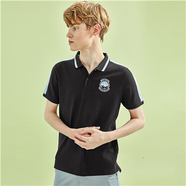 Contrast lycra pique short-sleeve polo shirt