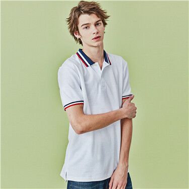 Contrast collar pique short-sleeve polo shirt