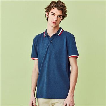 Contrast collar pique short-sl
