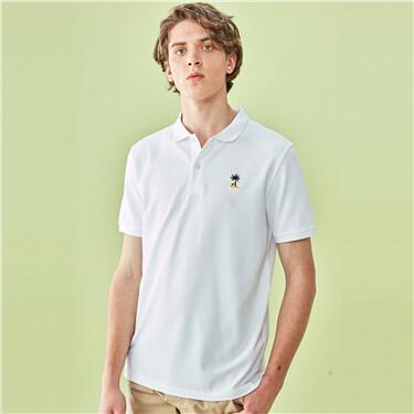 Embroidery lycra pique short-sleeve polo shirt