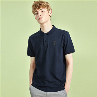 Embroidery lycra pique short-sleeve polo tee