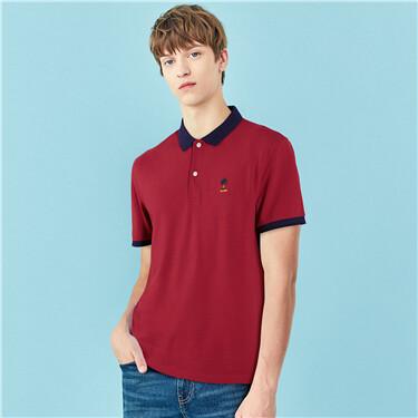 Embroidery Pique Short Sleeve Polo Shirt
