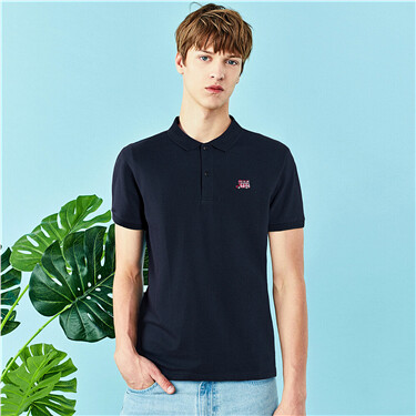 Embroidery pique short-sleeve polo shirt