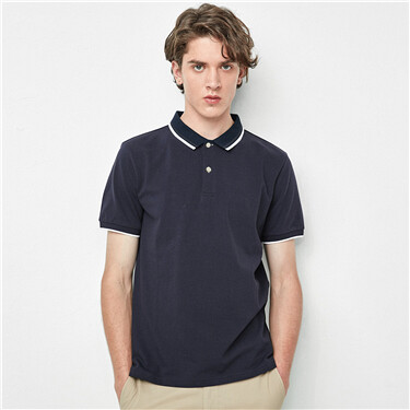 Contrast color stretchy pique polo shirt