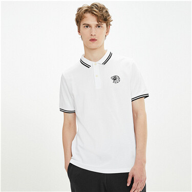 Embroidered eagle stretchy polo shirt