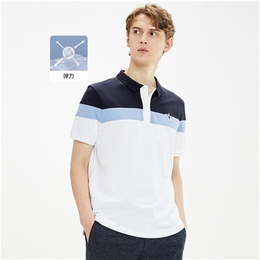 Embroidery collage contrast polo shirt