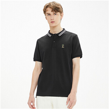 Embroidered stretchy polo shirt