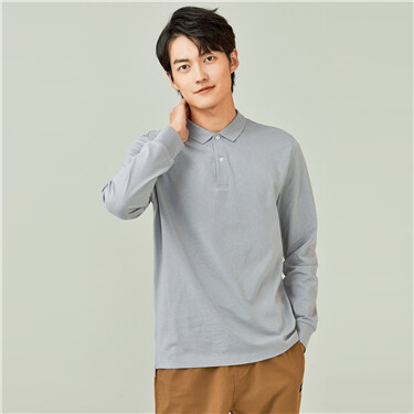 Solid color long-sleeve polo shirt