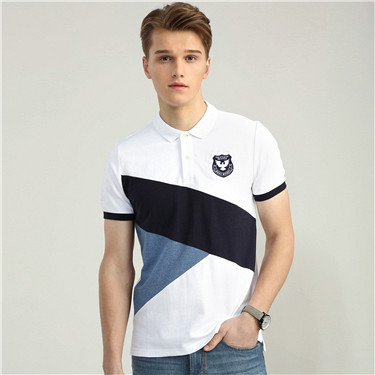 Colorblock slim embroidery polo