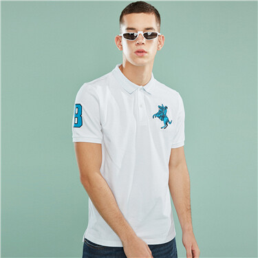 Pique embroidered stretchy  polo
