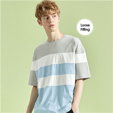 Loose cutting contrast color crewneck tee