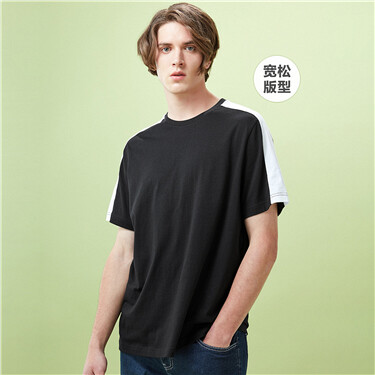 Contrast color crewneck short tee