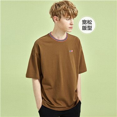 Embroidery contrast color crewneck loose tee