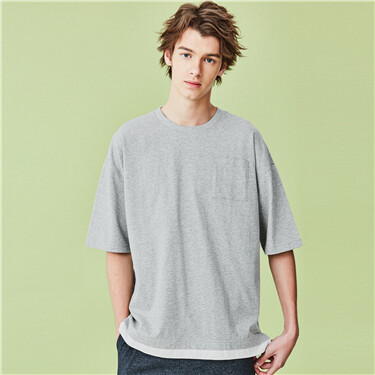 Drop-shoulder fake 2-piece tee