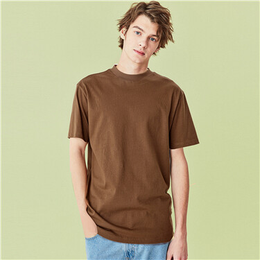 Loose Mock Neck Short Sleeve Tee