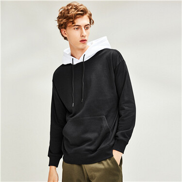 Contrast fleece-lined  kanga pocket hoodie