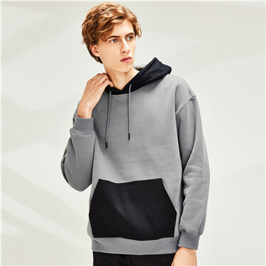Loose dropped-shoulder fleece-lined hoodie