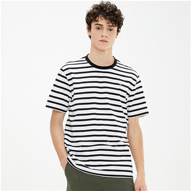 Stripe embroidery crewneck tee