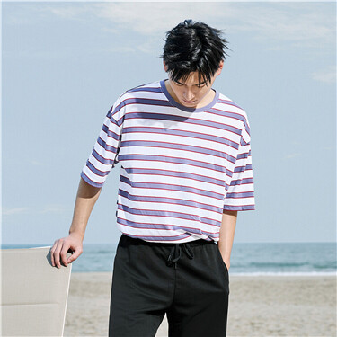 Stripe loose dropped-shoulder tee
