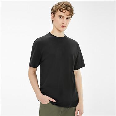 纯棉纯色奢滑触感圆领短袖T恤