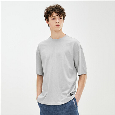 Slub cotton dropped-shoulder tee