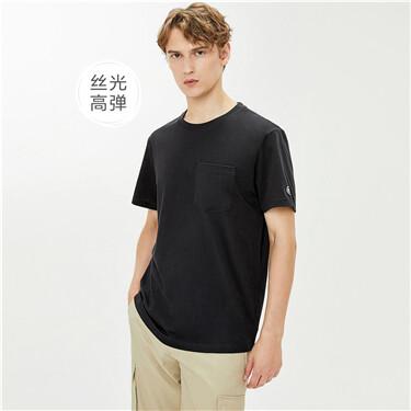 丝光高弹纯棉口袋绣章圆领短袖T恤