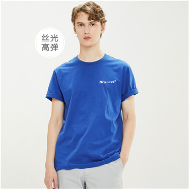 丝光高弹纯棉字母印花圆领短袖T恤