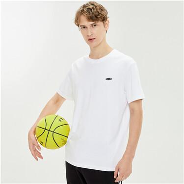 丝光高弹纯棉字母印标圆领短袖T恤