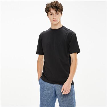 Cotton mockneck short-sleeve solid color tee