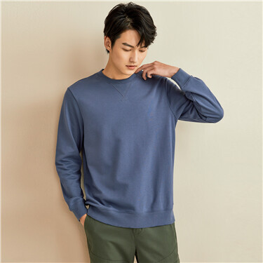 Solid color round neck long sleeve pullover sweater
