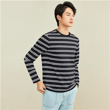 纯棉条纹圆领长袖T恤