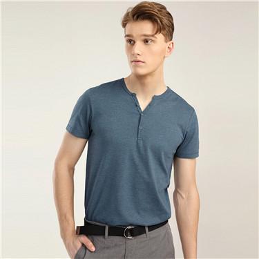 Henley neck short sleeve tee