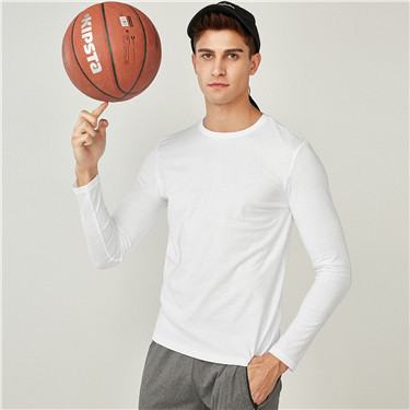 Brushed cotton crewneck long-sleeve tee