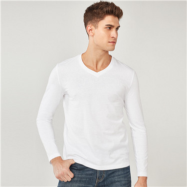 Brushed cotton V neck long-sleeve tee