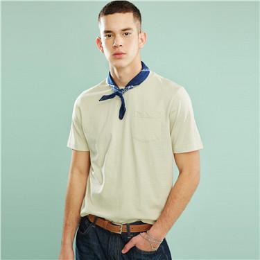 單貼袋純色圓領短袖T恤