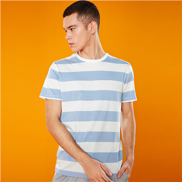 Crewneck stripe short-sleeve tee