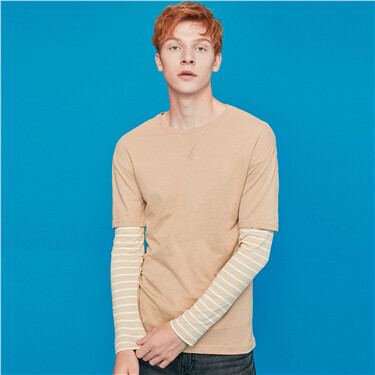 Fake-2pcs crewneck long-sleeves tee