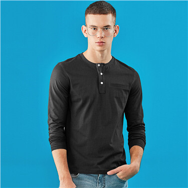 Decorate  pocket henley neck long-sleeve tee