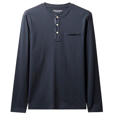 假袋亨利領純棉長袖T恤