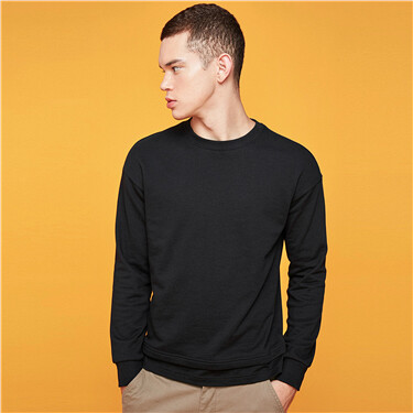 Zip fly at hem loose crewneck sweatshirt