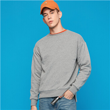 Solid crewneck fleece-lined sweatshirt