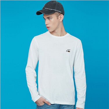 Small embroidery slim fit long-sleeve tee
